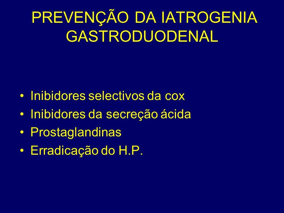 PREVENÇÃO DA IATROGENIA GASTRODUODENAL Inibidores selectivos da cox Inibidores da secreção ácida Prostaglandinas Erradicação do H.P.