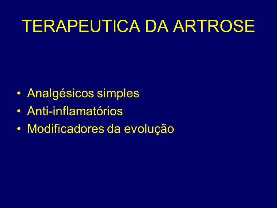 TERAPEUTICA DA ARTROSE Analgésicos simples Anti-inflamatórios Modificadores da evolução