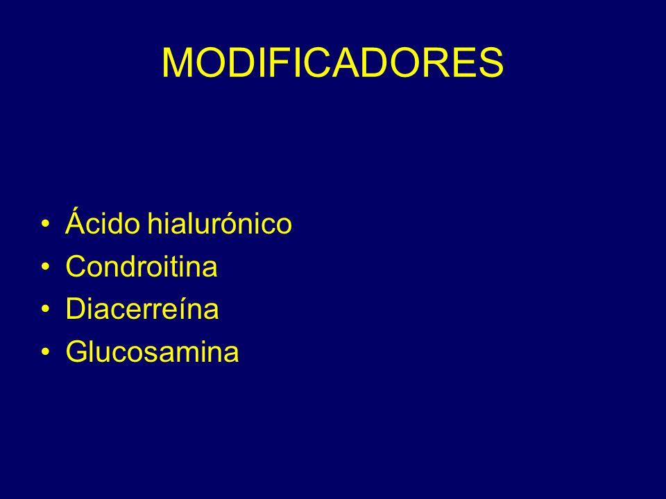 MODIFICADORES Ácido hialurónico Condroitina Diacerreína Glucosamina