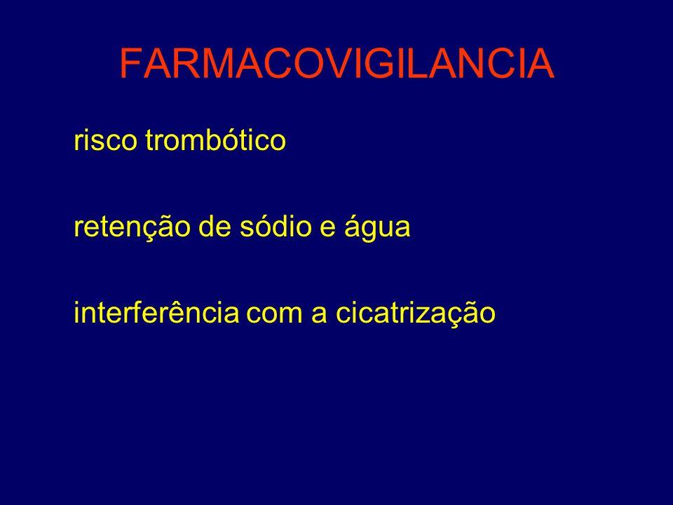 FARMACOVIGILANCIA risco trombótico retenção de sódio e água interferência com a cicatrização