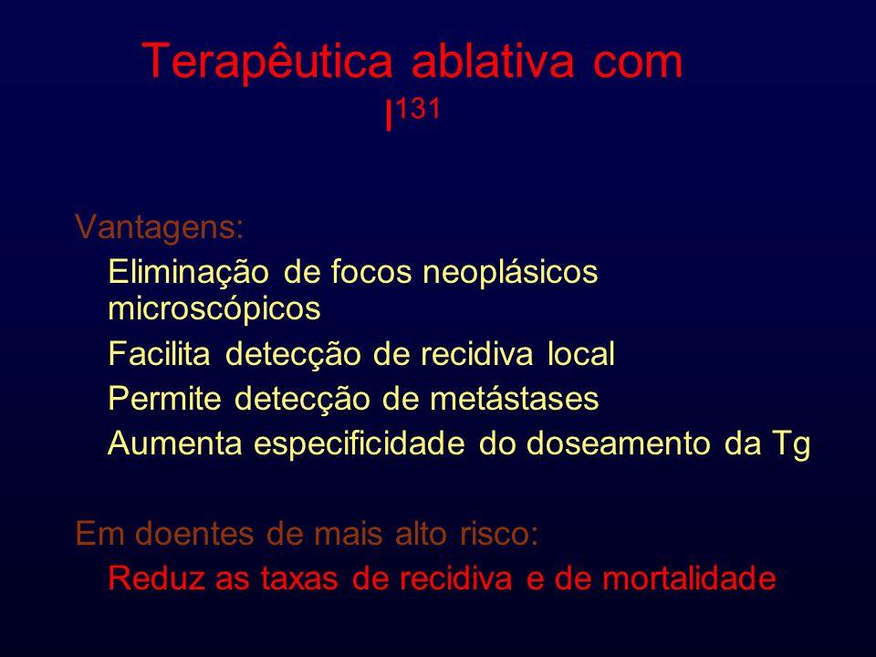 Terapêutica ablativa com I 131 Vantagens: Eliminação de focos neoplásicos microscópicos Facilita detecção de recidiva local Permite detecção de metástases Aumenta especificidade do doseamento da Tg Em doentes de mais alto risco: Reduz as taxas de recidiva e de mortalidade