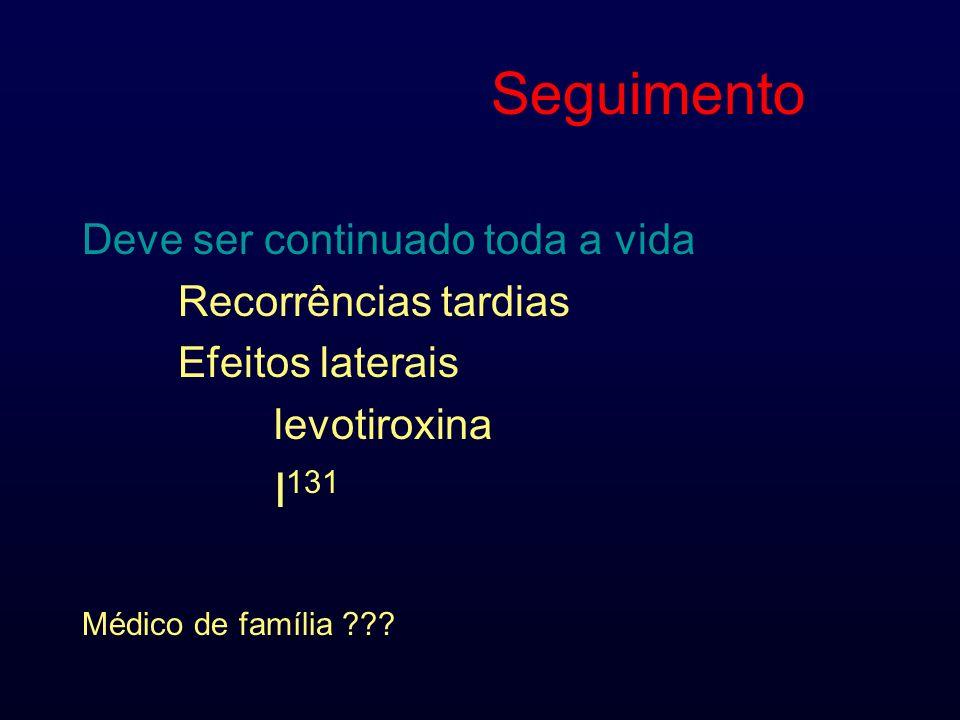 Seguimento Deve ser continuado toda a vida Recorrências tardias Efeitos laterais levotiroxina I 131 Médico de família ???
