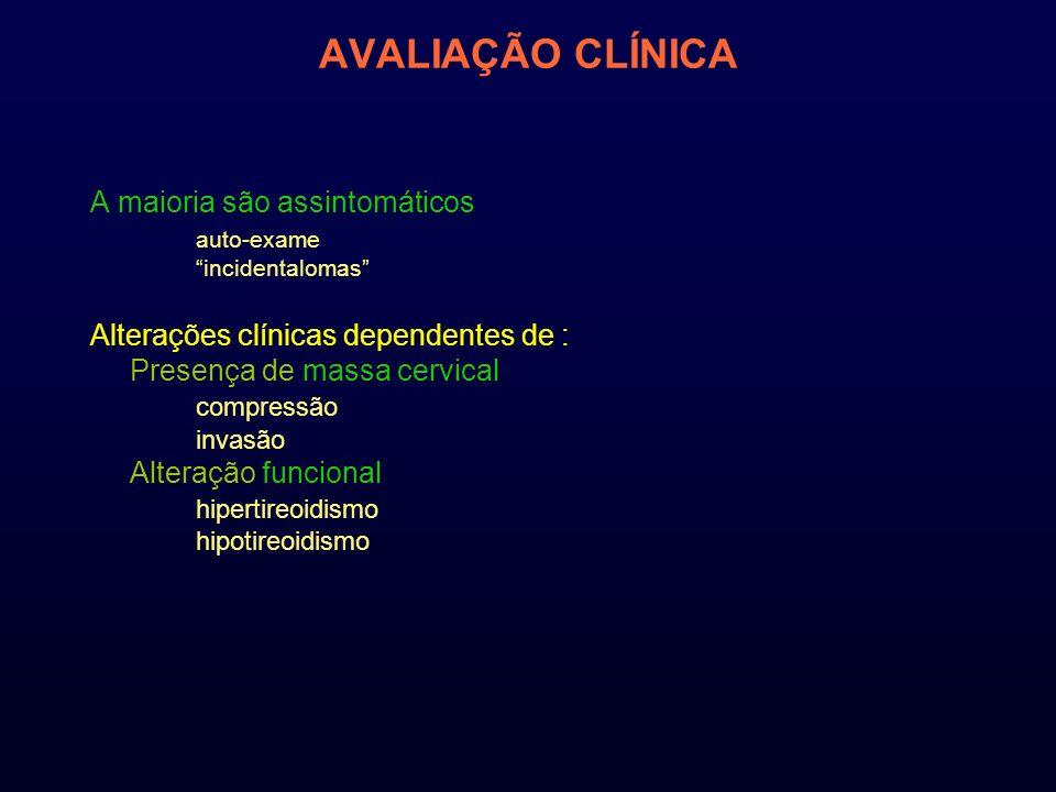 AVALIAÇÃO CLÍNICA A maioria são assintomáticos auto-exame incidentalomas Alterações clínicas dependentes de : Presença de massa cervical compressão invasão Alteração funcional hipertireoidismo hipotireoidismo