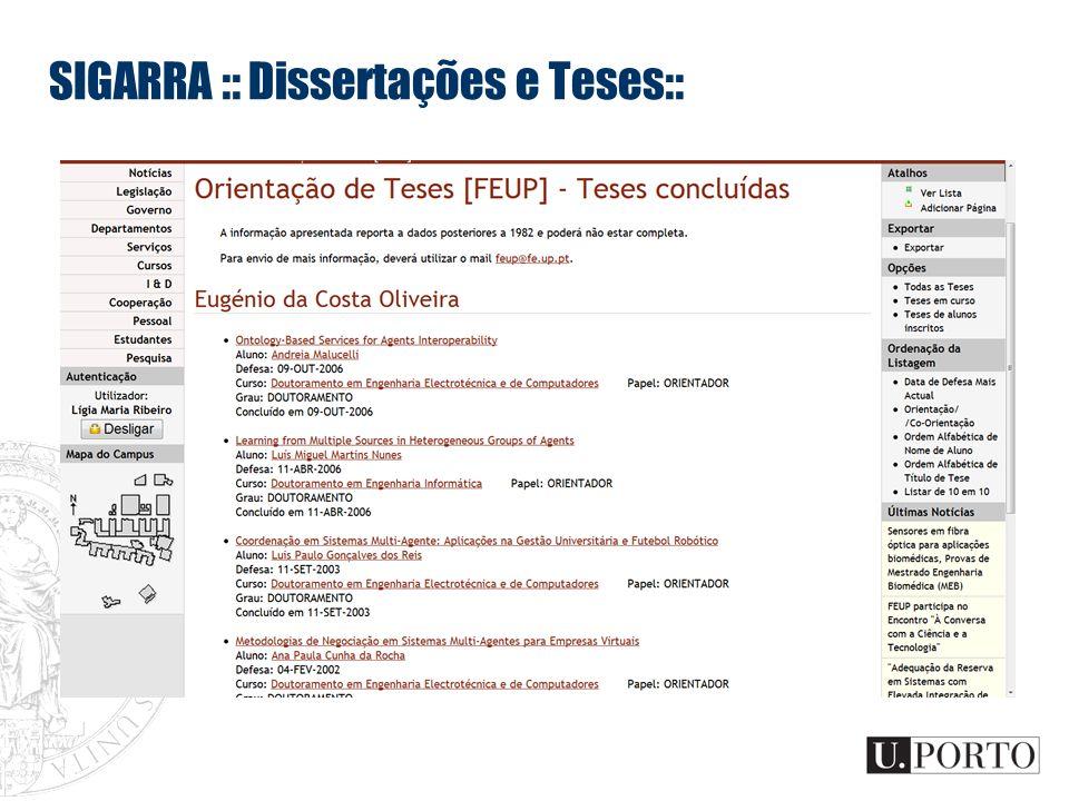 SIGARRA :: Dissertações e Teses::