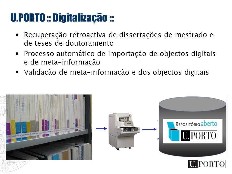 U.PORTO :: Digitalização :: Recuperação retroactiva de dissertações de mestrado e de teses de doutoramento Processo automático de importação de object