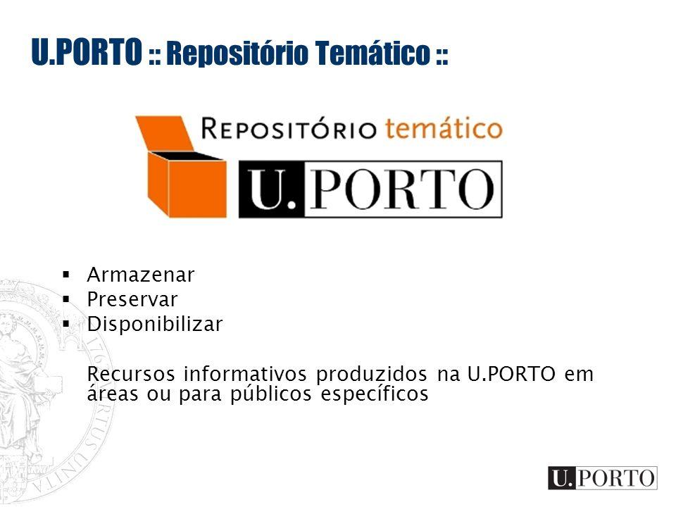 U.PORTO :: Repositório Temático :: Armazenar Preservar Disponibilizar Recursos informativos produzidos na U.PORTO em áreas ou para públicos específico