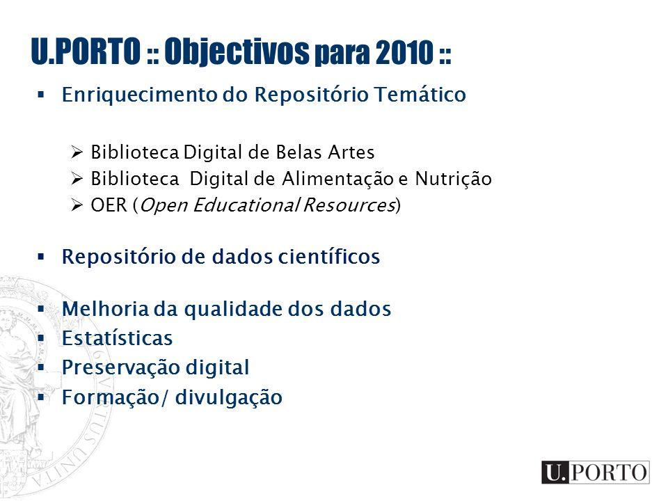 U.PORTO :: Objectivos para 2010 :: Enriquecimento do Repositório Temático Biblioteca Digital de Belas Artes Biblioteca Digital de Alimentação e Nutriç