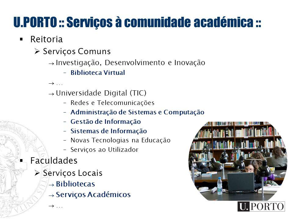 U.PORTO :: Serviços à comunidade académica :: Reitoria Serviços Comuns Investigação, Desenvolvimento e Inovação –Biblioteca Virtual … Universidade Dig