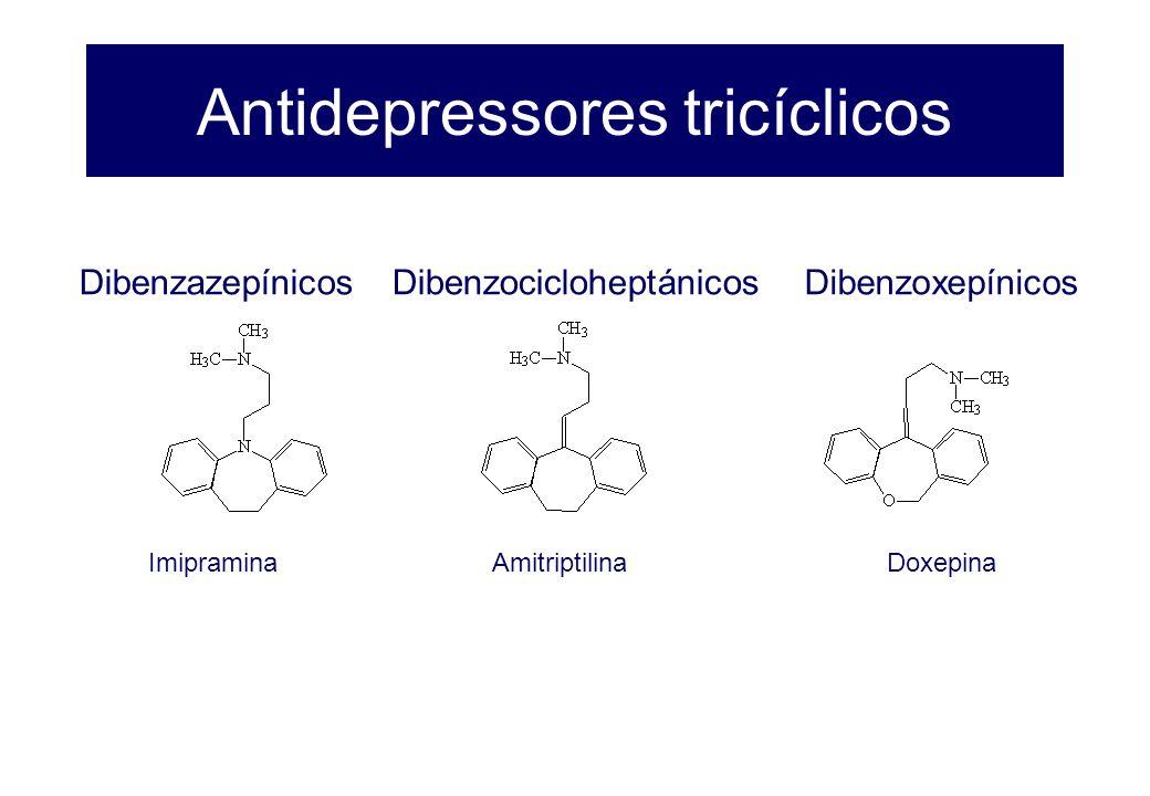 Antidepressores tricíclicos Dibenzazepínicos Imipramina Dibenzocicloheptánicos Amitriptilina Dibenzoxepínicos Doxepina