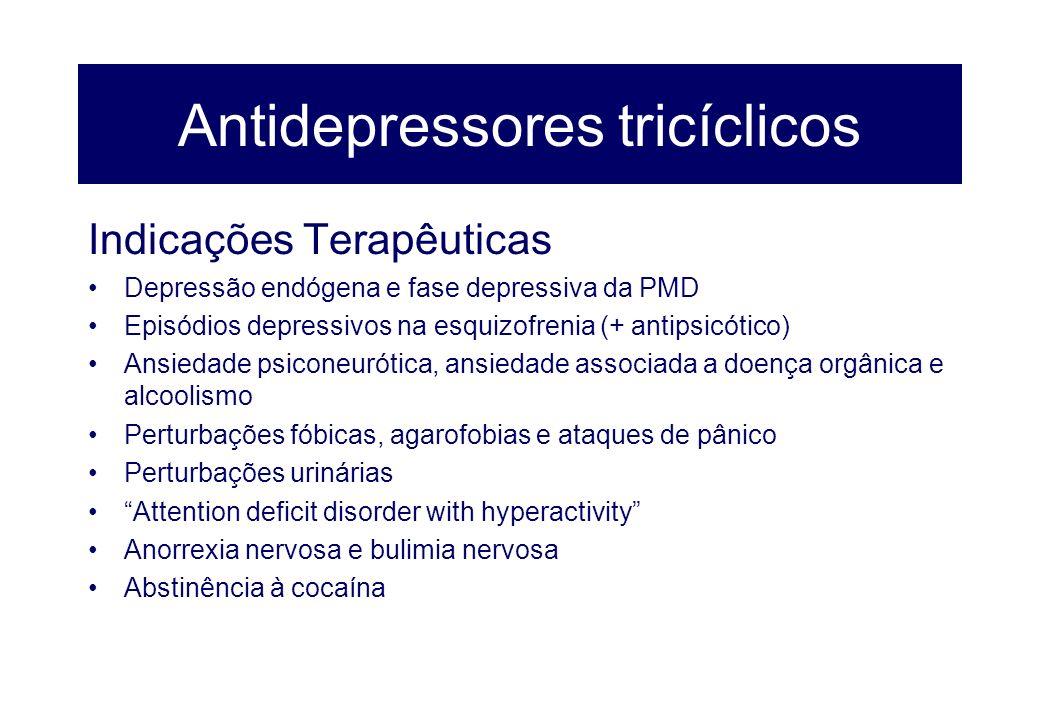 Antidepressores tricíclicos Indicações Terapêuticas Depressão endógena e fase depressiva da PMD Episódios depressivos na esquizofrenia (+ antipsicótic