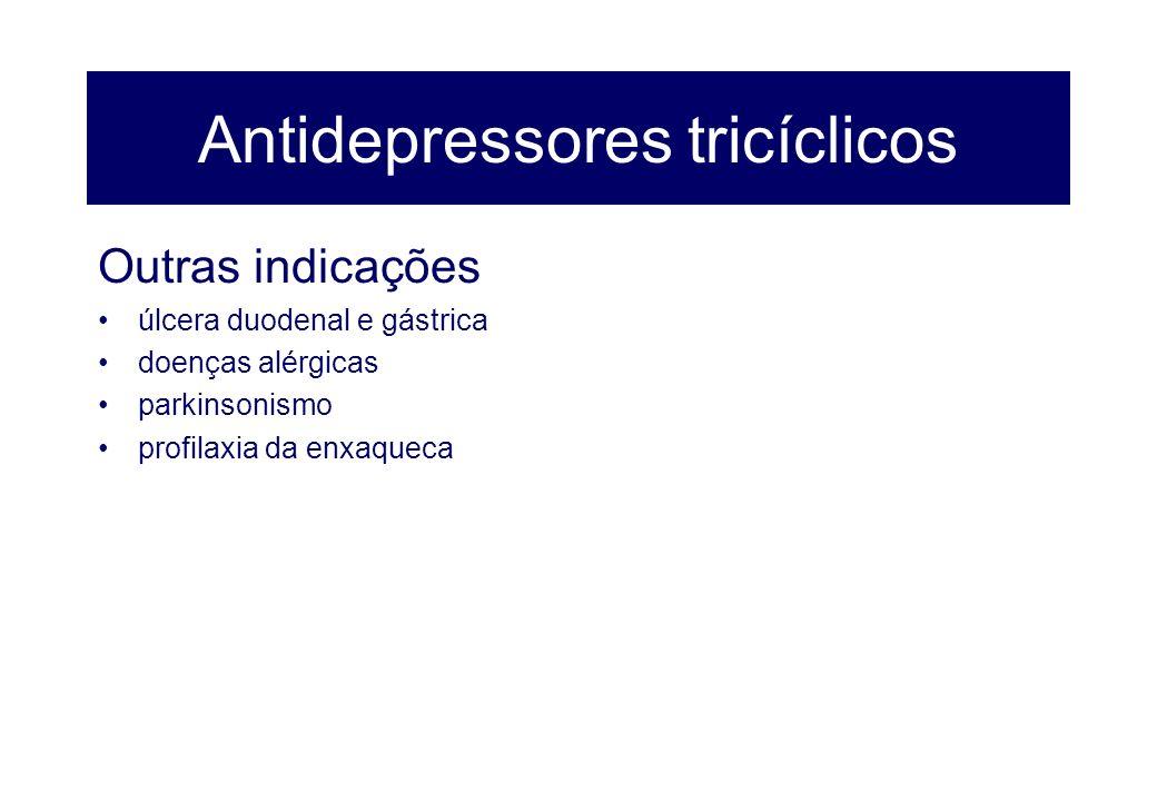 Antidepressores tricíclicos Outras indicações úlcera duodenal e gástrica doenças alérgicas parkinsonismo profilaxia da enxaqueca