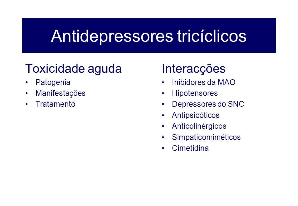 Antidepressores tricíclicos Toxicidade aguda Patogenia Manifestações Tratamento Interacções Inibidores da MAO Hipotensores Depressores do SNC Antipsic