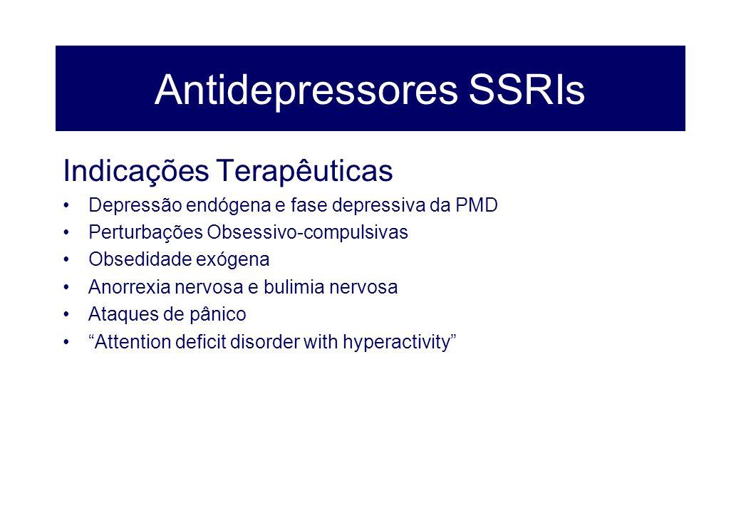 Antidepressores SSRIs Indicações Terapêuticas Depressão endógena e fase depressiva da PMD Perturbações Obsessivo-compulsivas Obsedidade exógena Anorre