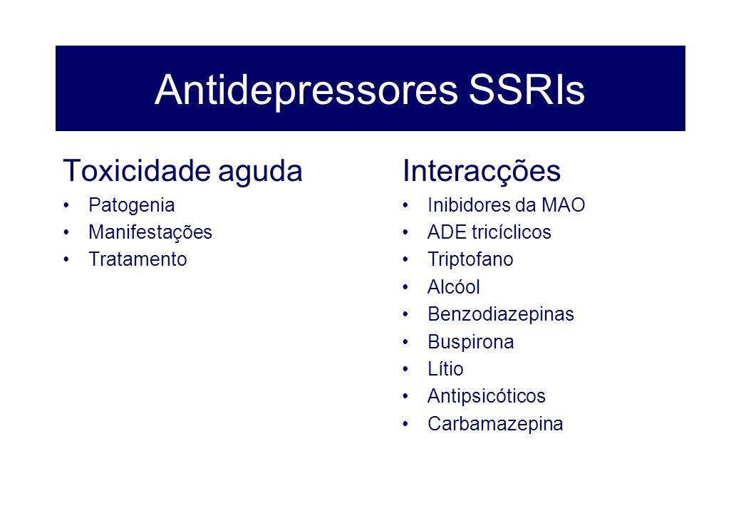 Antidepressores SSRIs Toxicidade aguda Patogenia Manifestações Tratamento Interacções Inibidores da MAO ADE tricíclicos Triptofano Alcóol Benzodiazepi