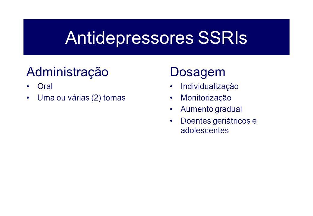 Antidepressores SSRIs Administração Oral Uma ou várias (2) tomas Dosagem Individualização Monitorização Aumento gradual Doentes geriátricos e adolesce
