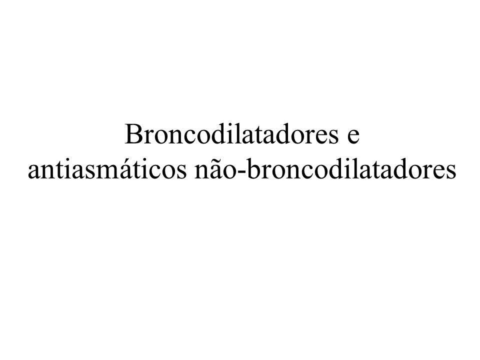 Broncodilatadores –Relaxamento músculo liso brônquico –Aumento a motilidade ciliar epitelial brônquica Asma DPOC Antiasmáticos não-broncodilatadores –Modulação dos processos inflamatório e sensibilizante alérgico Asma