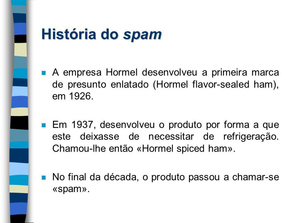 História do spam n A empresa Hormel desenvolveu a primeira marca de presunto enlatado (Hormel flavor-sealed ham), em 1926. n Em 1937, desenvolveu o pr