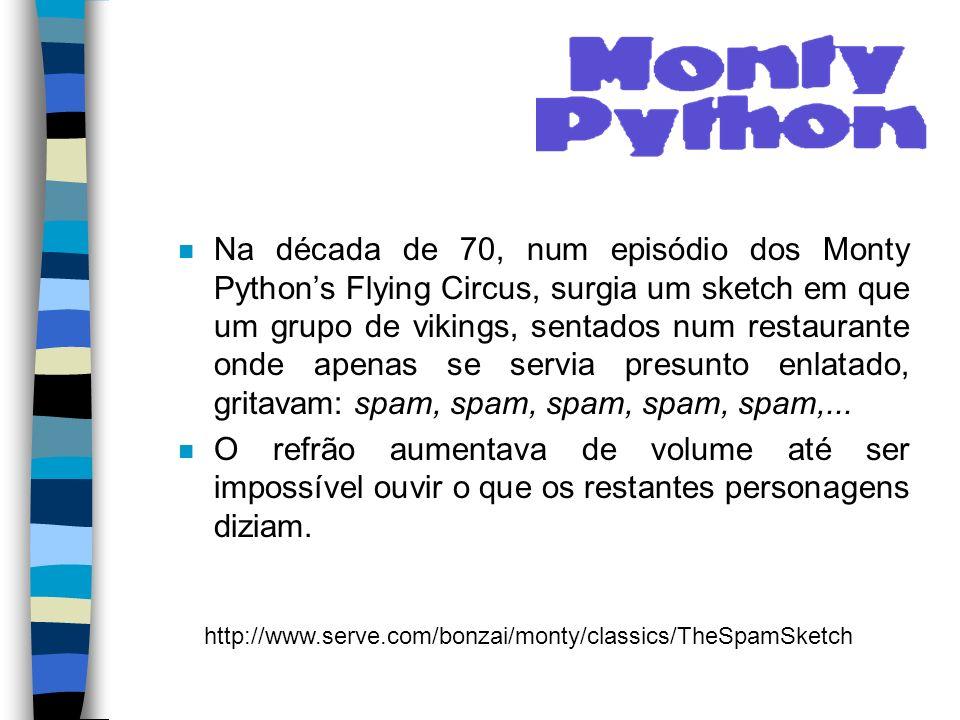 n Na década de 70, num episódio dos Monty Pythons Flying Circus, surgia um sketch em que um grupo de vikings, sentados num restaurante onde apenas se servia presunto enlatado, gritavam: spam, spam, spam, spam, spam,...