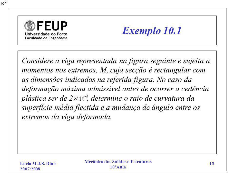 Lúcia M.J.S. Dinis 2007/2008 Mecânica dos Sólidos e Estruturas 10ªAula 13 Exemplo 10.1 Considere a viga representada na figura seguinte e sujeita a mo