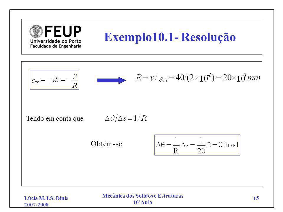 Lúcia M.J.S. Dinis 2007/2008 Mecânica dos Sólidos e Estruturas 10ªAula 15 Exemplo10.1- Resolução Tendo em conta que Obtém-se