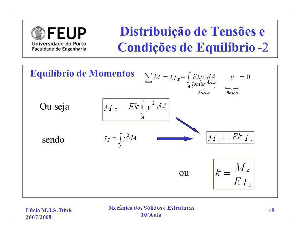 Lúcia M.J.S. Dinis 2007/2008 Mecânica dos Sólidos e Estruturas 10ªAula 18 Distribuição de Tensões e Condições de Equilíbrio -2 Equilíbrio de Momentos