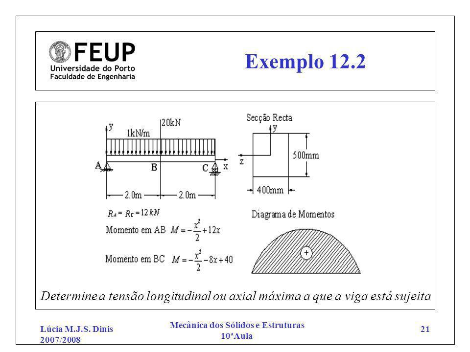 Lúcia M.J.S. Dinis 2007/2008 Mecânica dos Sólidos e Estruturas 10ªAula 21 Exemplo 12.2 Determine a tensão longitudinal ou axial máxima a que a viga es