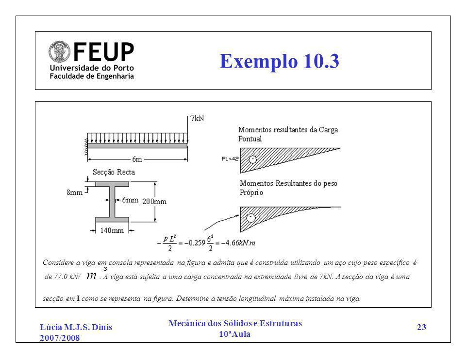 Lúcia M.J.S. Dinis 2007/2008 Mecânica dos Sólidos e Estruturas 10ªAula 23 Exemplo 10.3 Considere a viga em consola representada na figura e admita que