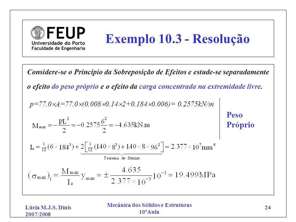 Lúcia M.J.S. Dinis 2007/2008 Mecânica dos Sólidos e Estruturas 10ªAula 24 Exemplo 10.3 - Resolução Considere-se o Princípio da Sobreposição de Efeitos