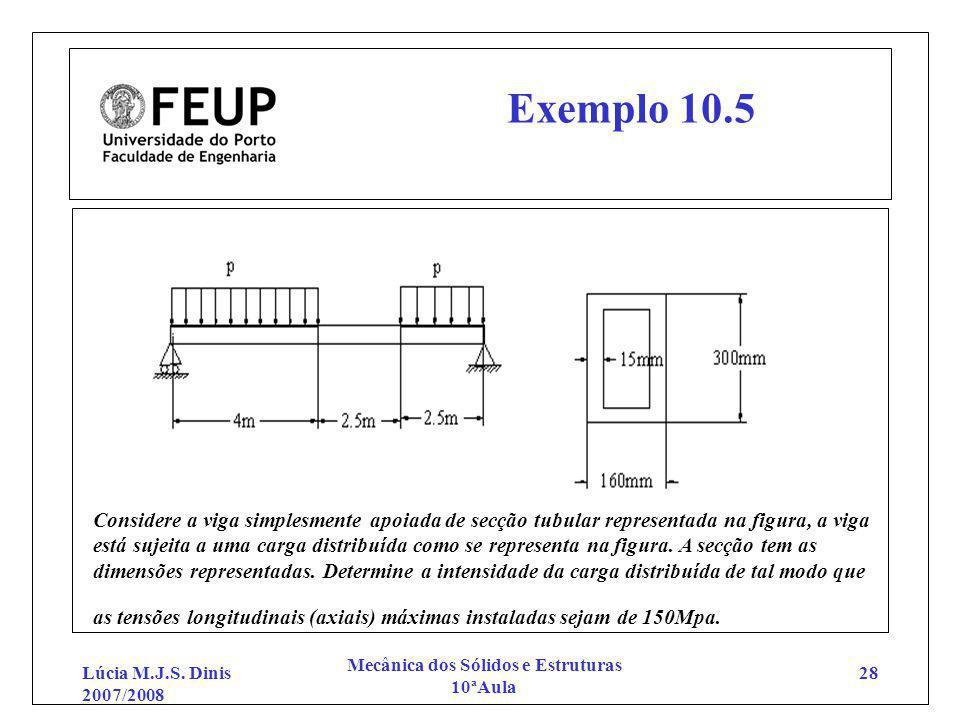 Lúcia M.J.S. Dinis 2007/2008 Mecânica dos Sólidos e Estruturas 10ªAula 28 Exemplo 10.5 Considere a viga simplesmente apoiada de secção tubular represe