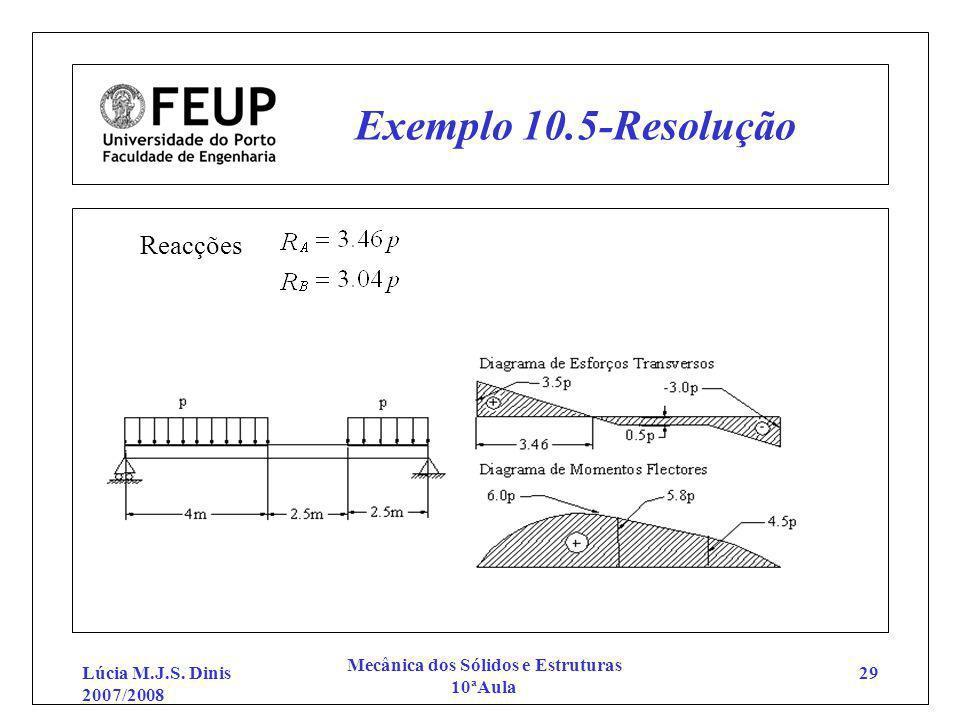 Lúcia M.J.S. Dinis 2007/2008 Mecânica dos Sólidos e Estruturas 10ªAula 29 Exemplo 10.5-Resolução Reacções