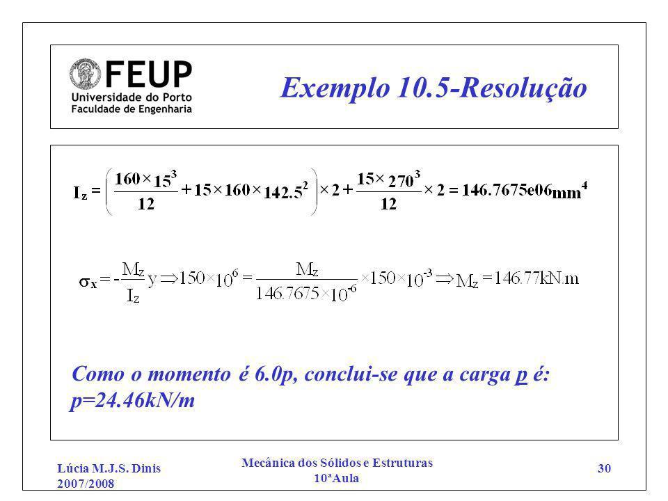 Lúcia M.J.S. Dinis 2007/2008 Mecânica dos Sólidos e Estruturas 10ªAula 30 Exemplo 10.5-Resolução Como o momento é 6.0p, conclui-se que a carga p é: p=