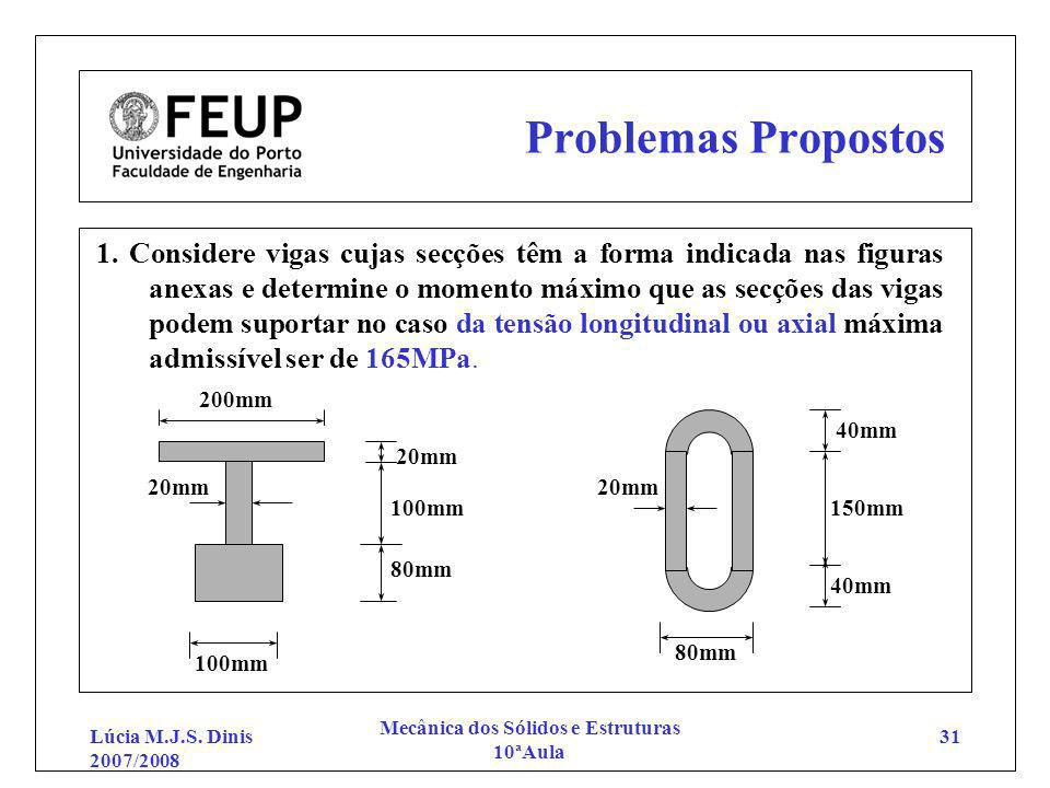 Lúcia M.J.S. Dinis 2007/2008 Mecânica dos Sólidos e Estruturas 10ªAula 31 Problemas Propostos 1. Considere vigas cujas secções têm a forma indicada na