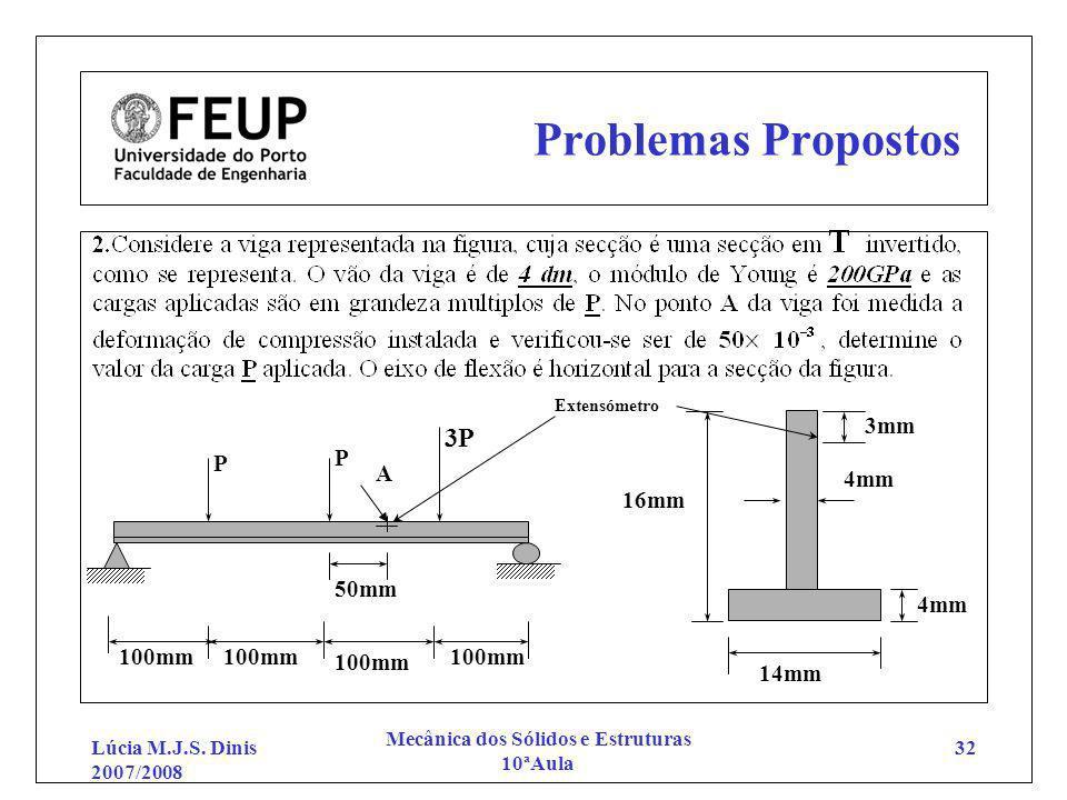 Lúcia M.J.S. Dinis 2007/2008 Mecânica dos Sólidos e Estruturas 10ªAula 32 Problemas Propostos 3P 100mm 14mm 16mm 4mm P P 100mm 3mm 50mm A Extensómetro