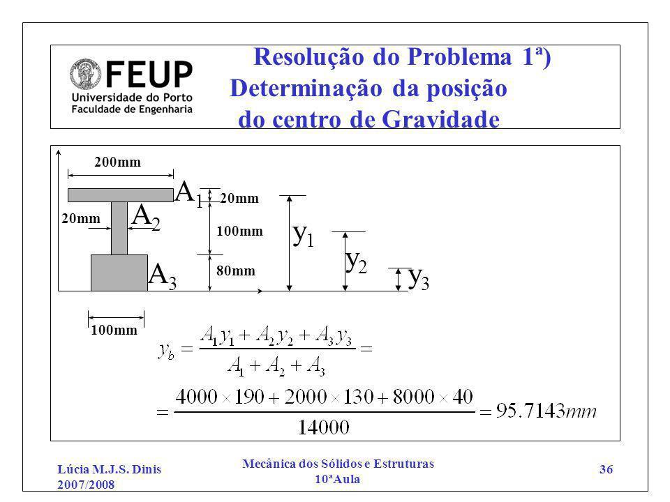 Lúcia M.J.S. Dinis 2007/2008 Mecânica dos Sólidos e Estruturas 10ªAula 36 Resolução do Problema 1ª) Determinação da posição do centro de Gravidade 200