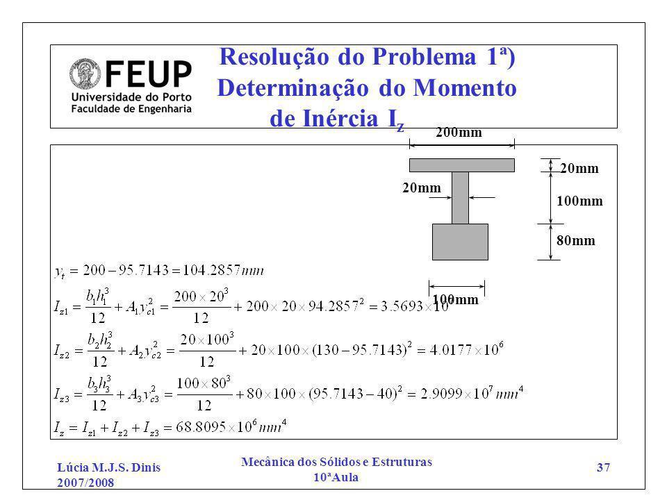 Lúcia M.J.S. Dinis 2007/2008 Mecânica dos Sólidos e Estruturas 10ªAula 37 Resolução do Problema 1ª) Determinação do Momento de Inércia I z 200mm 100mm