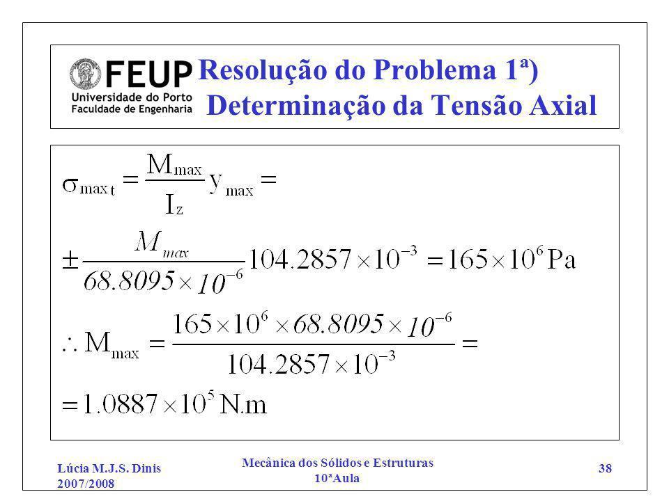 Lúcia M.J.S. Dinis 2007/2008 Mecânica dos Sólidos e Estruturas 10ªAula 38 Resolução do Problema 1ª) Determinação da Tensão Axial