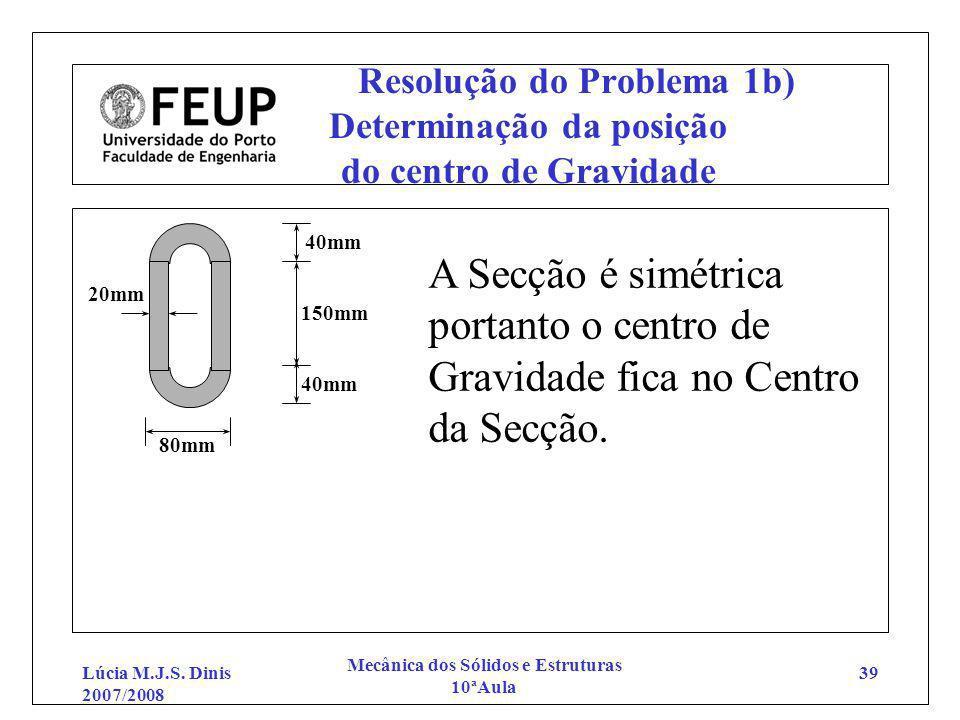 Lúcia M.J.S. Dinis 2007/2008 Mecânica dos Sólidos e Estruturas 10ªAula 39 Resolução do Problema 1b) Determinação da posição do centro de Gravidade 20m