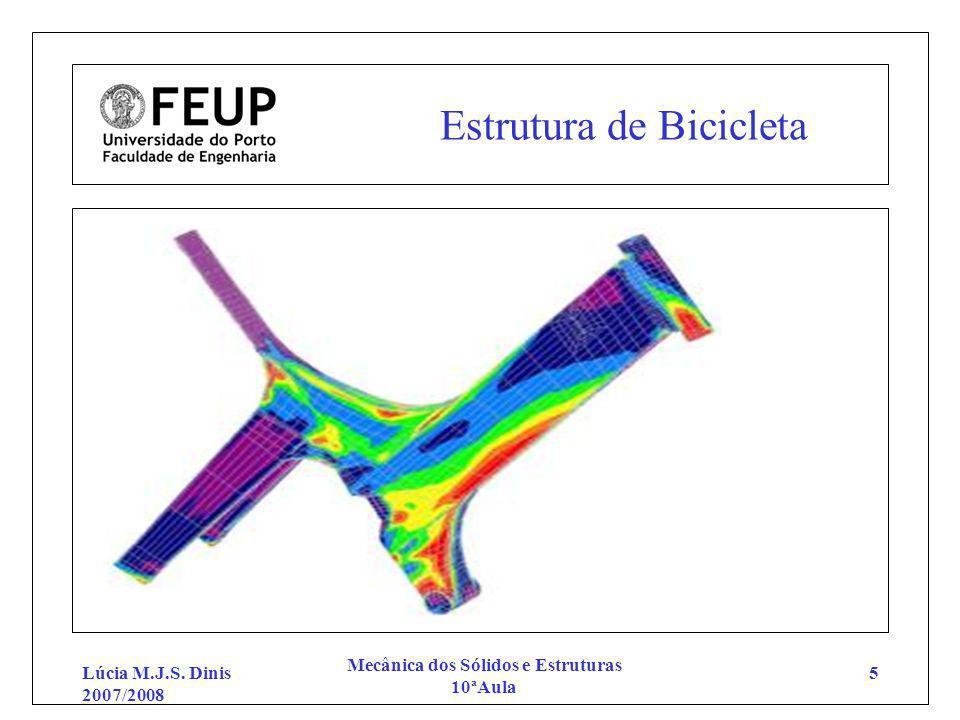 Lúcia M.J.S. Dinis 2007/2008 Mecânica dos Sólidos e Estruturas 10ªAula 5 Estrutura de Bicicleta
