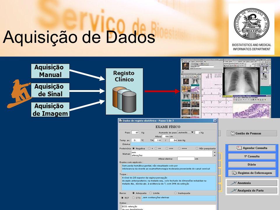 Aquisição de Dados Aquisição de Sinal Aquisição de Imagem Aquisição Manual Registo Clínico