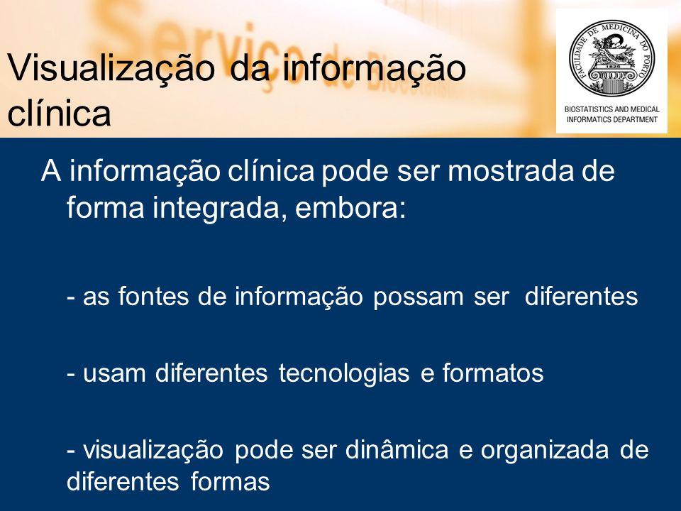 Visualização da informação clínica A informação clínica pode ser mostrada de forma integrada, embora: - as fontes de informação possam ser diferentes