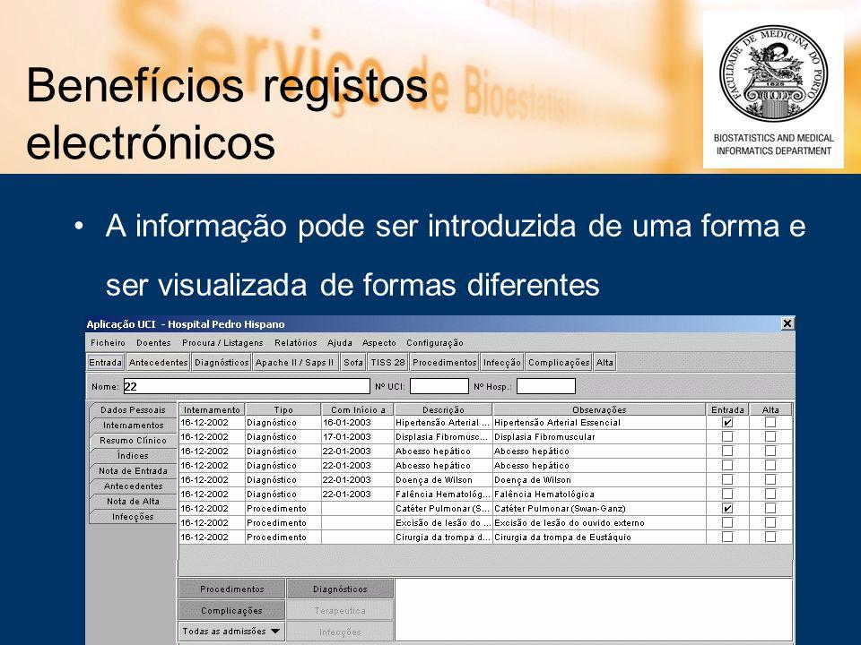 Benefícios registos electrónicos A informação pode ser introduzida de uma forma e ser visualizada de formas diferentes
