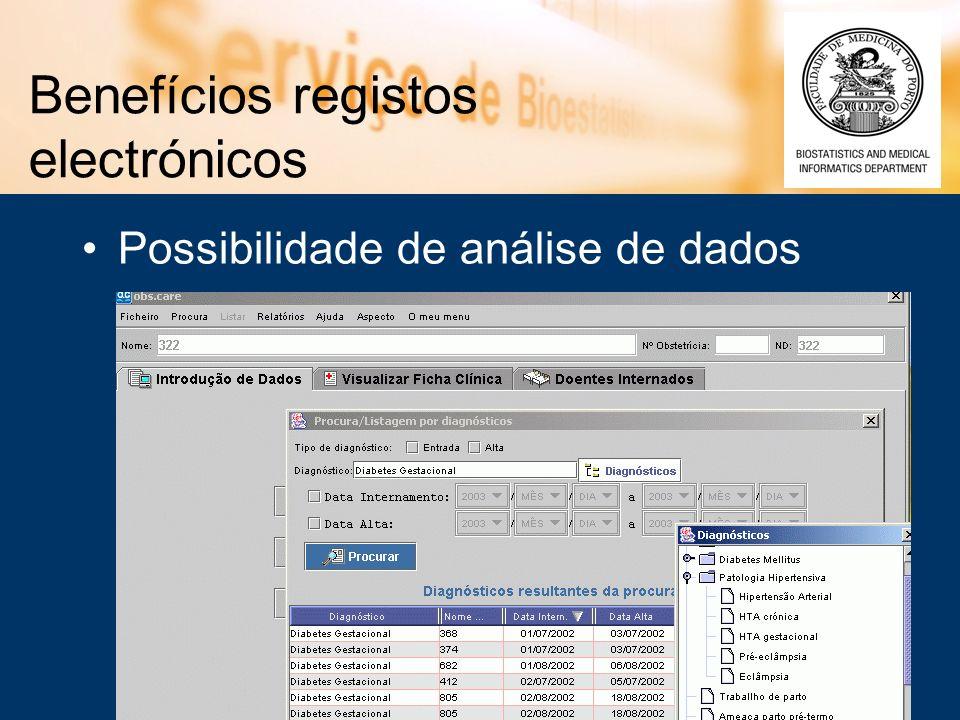 Benefícios registos electrónicos Possibilidade de análise de dados