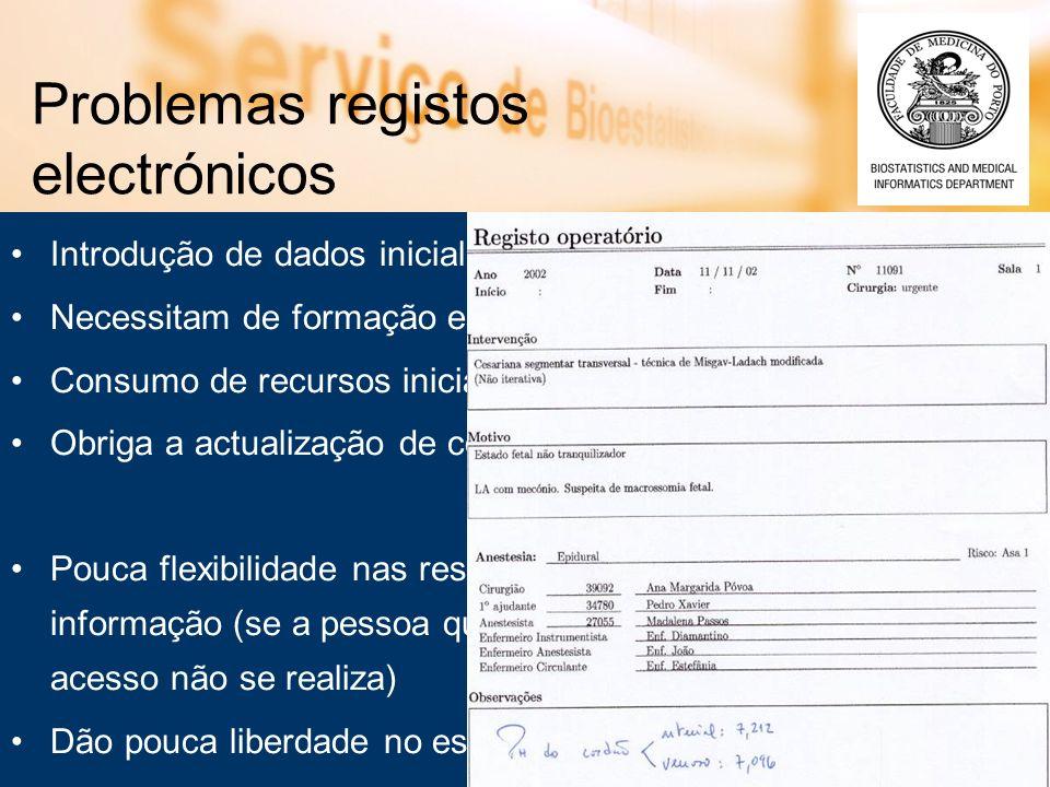 Problemas registos electrónicos Introdução de dados inicialmente mais lenta Necessitam de formação específica dos profissionais de saúde Consumo de re