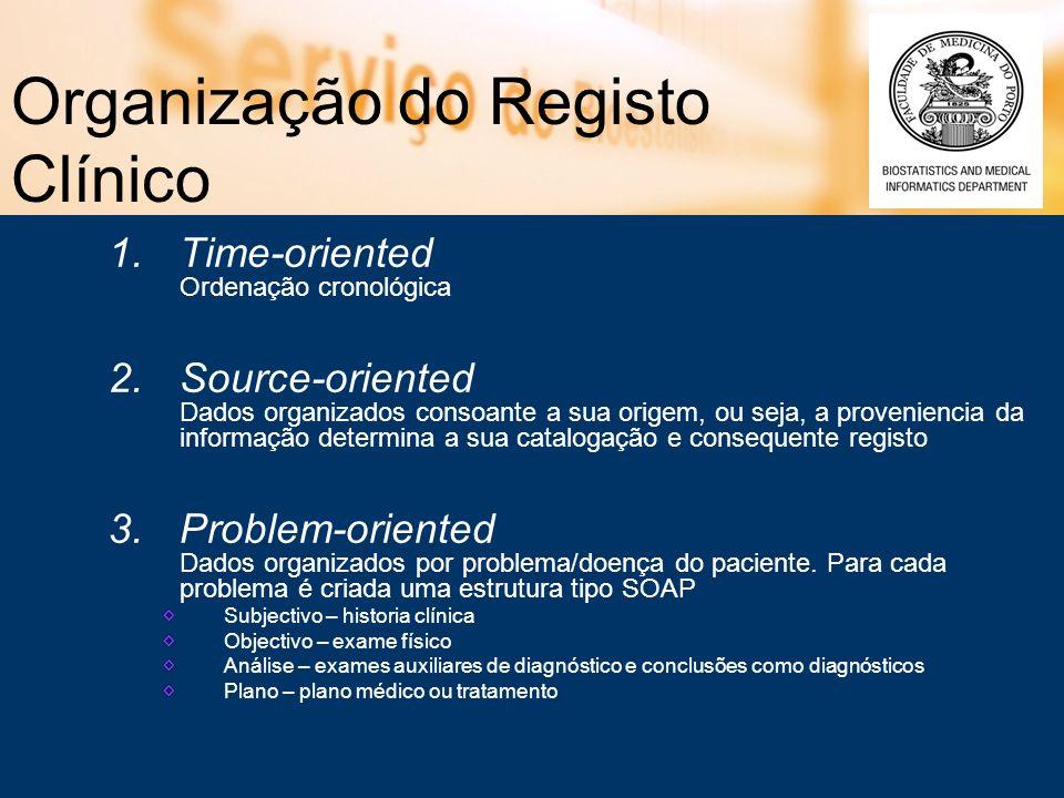 Organização do Registo Clínico 1.Time-oriented Ordenação cronológica 2.Source-oriented Dados organizados consoante a sua origem, ou seja, a provenienc