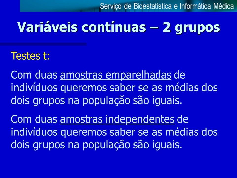 Variáveis contínuas – 2 grupos Testes t: Com duas amostras emparelhadas de indivíduos queremos saber se as médias dos dois grupos na população são igu
