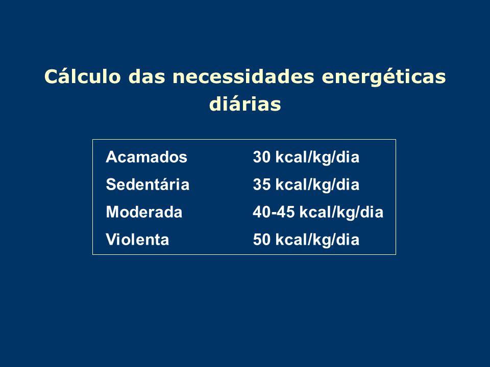 Cálculo das necessidades energéticas diárias Acamados 30 kcal/kg/dia Sedentária 35 kcal/kg/dia Moderada40-45 kcal/kg/dia Violenta 50 kcal/kg/dia
