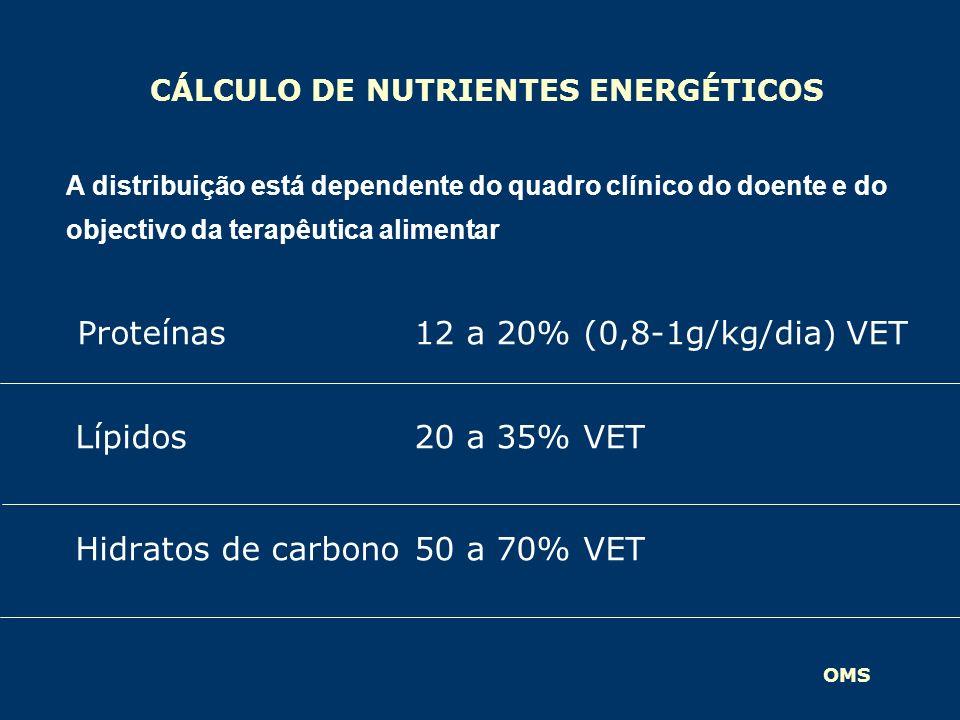 CÁLCULO DE NUTRIENTES ENERGÉTICOS Proteínas 12 a 20% (0,8-1g/kg/dia) VET Lípidos20 a 35% VET Hidratos de carbono50 a 70% VET A distribuição está depen