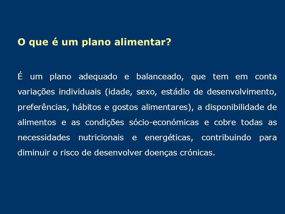 O que é um plano alimentar? É um plano adequado e balanceado, que tem em conta variações individuais (idade, sexo, estádio de desenvolvimento, preferê