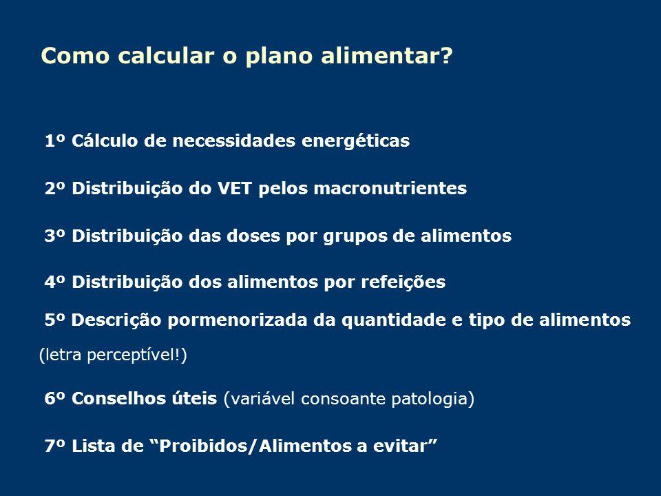 Como calcular o plano alimentar? 1º Cálculo de necessidades energéticas 2º Distribuição do VET pelos macronutrientes 3º Distribuição das doses por gru