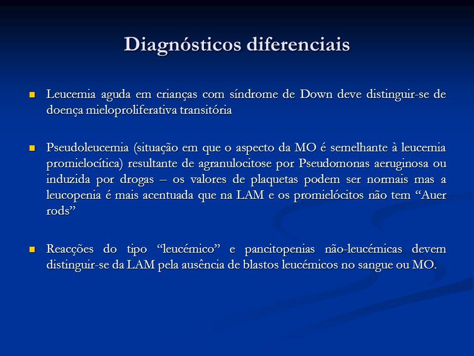 Diagnósticos diferenciais Leucemia aguda em crianças com síndrome de Down deve distinguir-se de doença mieloproliferativa transitória Leucemia aguda e